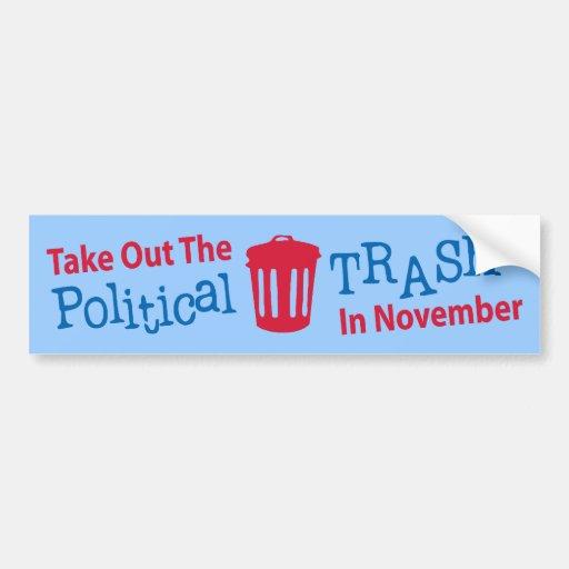 Saque la basura política en Novemer Pegatina Para Auto