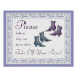 Saque por favor sus zapatos impresiones