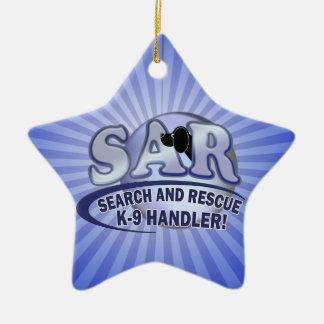 SAR SEARCH AND RESCUE K-9 HANDLER CERAMIC ORNAMENT