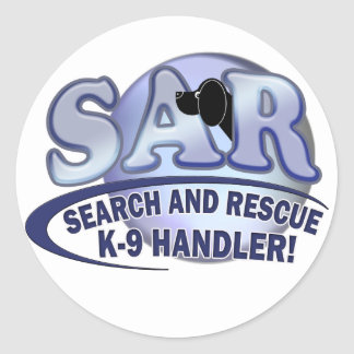 SAR SEARCH AND RESCUE K-9 HANDLER CLASSIC ROUND STICKER