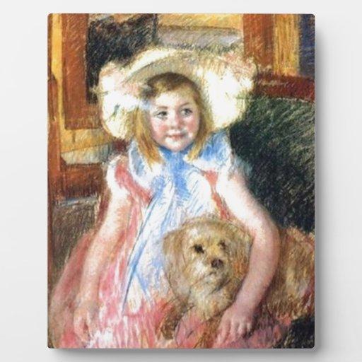 Sara con el perro casero de Marie Cassatt Placas De Madera