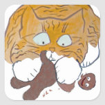 Sara, el gatito, crujido del pan de jengibre pegatinas cuadradases personalizadas