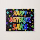 "[ Thumbnail: ""Sara"" First Name, Fun ""Happy Birthday"" Jigsaw Puzzle ]"