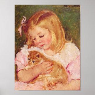 sara_holding_her kitten poster
