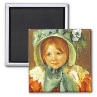 Sara in a Green Bonnet. c. 1901, Mary Cassatt Magnet