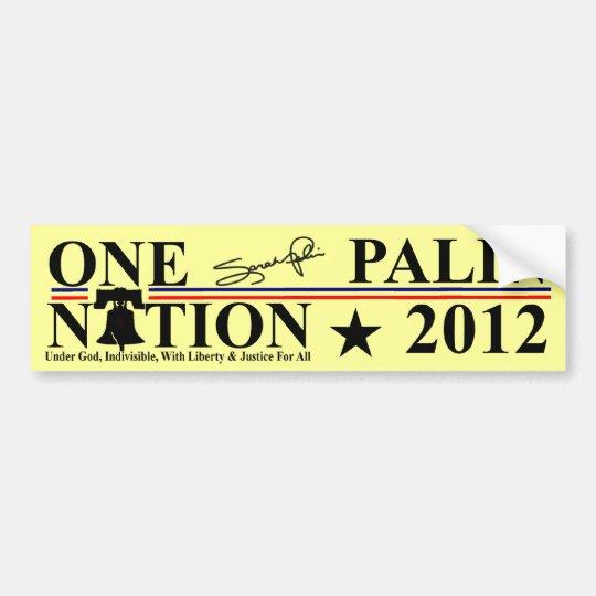 Sara Palin - One Nation Design - 2012 Bumper Sticker