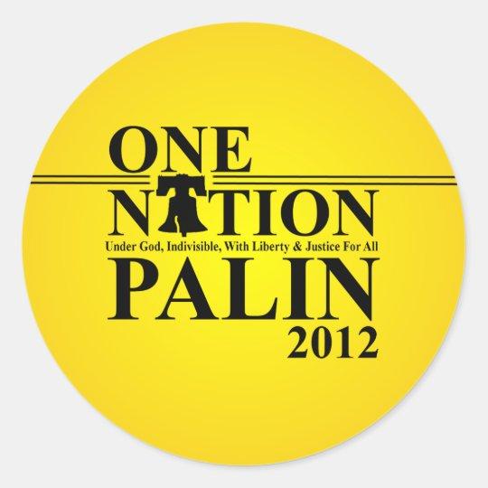 Sara Palin - One Nation Design - 2012 Classic Round Sticker