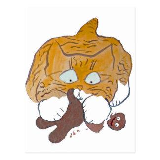 Sara, the Kitten, Gingerbread Crunch Postcard
