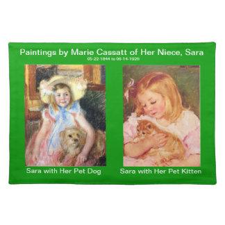 Sara with Her Pet Dog and Kitten Placemat Cloth Place Mat