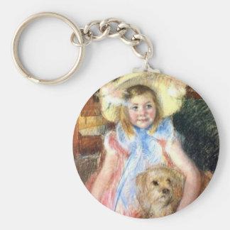 Sara with Pet Dog by Marie Cassatt Key Chain