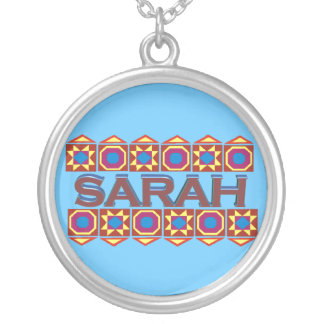 Sarah Abstract art southwestern over light blue Round Pendant Necklace