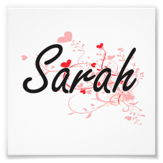 Sarah Artistic Name Design with Hearts Photo Print