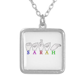 SARAH ASL NAME FINGERSPELLED SIGN SQUARE PENDANT NECKLACE