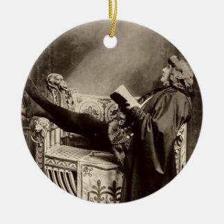 Sarah Bernhardt (1844-1923) as Hamlet in the 1899 Ceramic Ornament