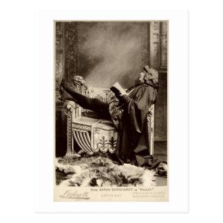 Sarah Bernhardt (1844-1923) como Hamlet en el 1899 Postal