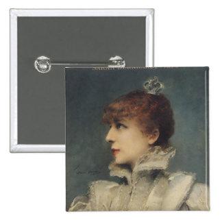 Sarah Bernhardt  1875 2 Inch Square Button