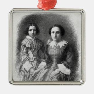 Sarah Bernhardt and her mother? Metal Ornament