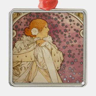Sarah Bernhardt - By: Alfons Mucha - 1896 Square Metal Christmas Ornament