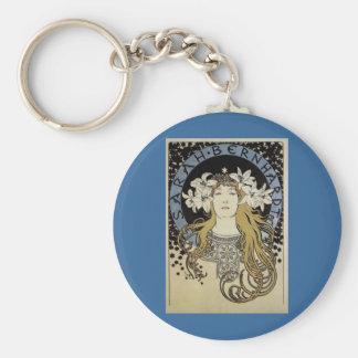Sarah Bernhardt by Alphonse Mucha Basic Round Button Keychain
