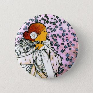 Sarah Bernhardt, La Dame aux Camélias, Mucha Fine Pinback Button