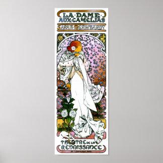 Sarah Bernhardt, La Dame aux Camélias, Mucha Fine Poster