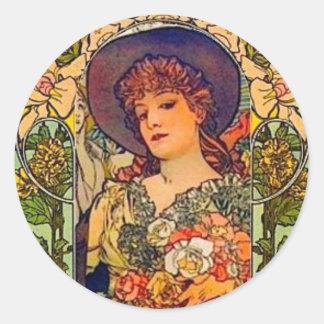 Sarah Bernhardt Tosca. Pegatina Redonda