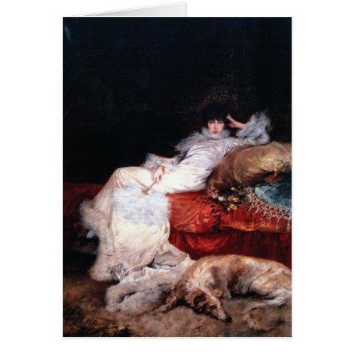 Sarah Bernhardt with Borzoi Greeting Cards