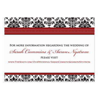 "::sarah:: Damask 3.5""x2.5"" Wedding Info Card Large Business Cards (Pack Of 100)"