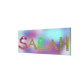 SARAH Girl's Name Cute Letters Design Abstract Canvas Print