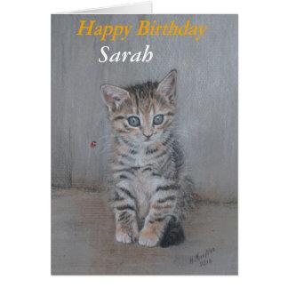 Sarah, Happy Birthday kitten art. Card
