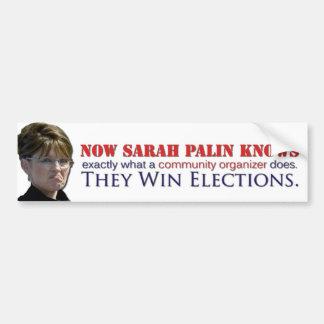 Sarah knows what a community organizer does car bumper sticker