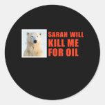 Sarah me matará para el aceite etiqueta redonda