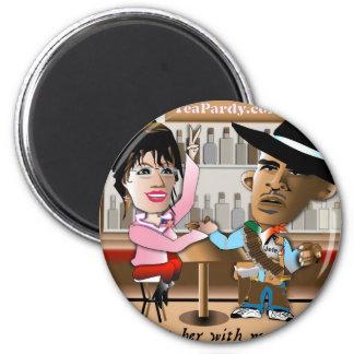 Sarah Palin and Obama Mano a Mano 2 Inch Round Magnet