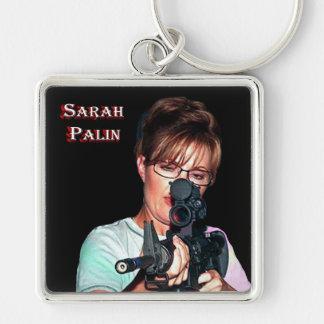 Sarah Palin con el rifle Llavero Cuadrado Plateado
