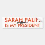 Sarah Palin es mi arma del presidente w Pegatina De Parachoque
