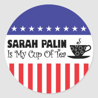 Sarah Palin es mi taza de té Pegatinas Redondas