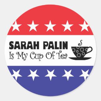 Sarah Palin es mi taza de té Pegatina Redonda