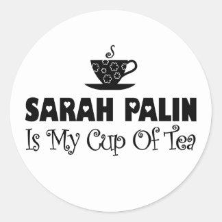 Sarah Palin es mi taza de té Etiquetas Redondas