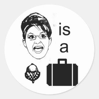 Sarah Palin es una caja de nuez Pegatina Redonda