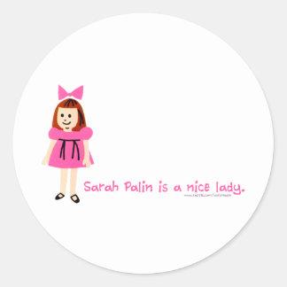 Sarah Palin es una señora agradable Pegatinas Redondas