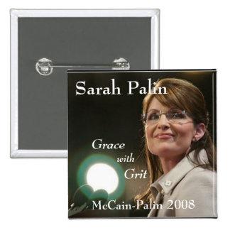 Sarah Palin Grace with Grit Pinback Buttons