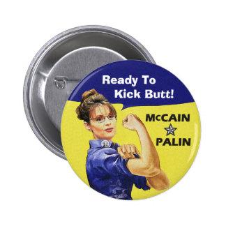 ¡Sarah Palin listo para golpear extremo con el pie Pin Redondo De 2 Pulgadas