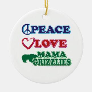 Sarah Palin/mamá Grizzlies del amor de la paz Ornamento De Reyes Magos