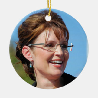 Sarah Palin Double-Sided Ceramic Round Christmas Ornament