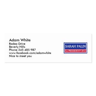 Sarah Palin para el presidente 2012 Plantilla De Tarjeta De Negocio