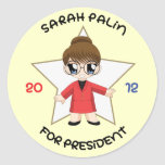 Sarah Palin para el presidente Etiquetas Redondas