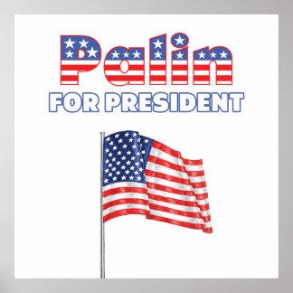 Sarah Palin para la bandera americana de president Poster