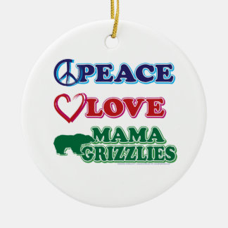Sarah Palin/Peace Love Mama Grizzlies Double-Sided Ceramic Round Christmas Ornament