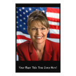 "Sarah Palin Picture with Waving Flag 5.5"" X 8.5"" Flyer"