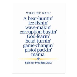 Sarah Palin Pistol packin' Mama Postcard